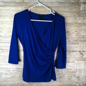 Ann Taylor Blue Women's Top Long Sleeve V Neck
